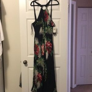 NWT Women's Black Tropical Beaded Maxi Dress (22)